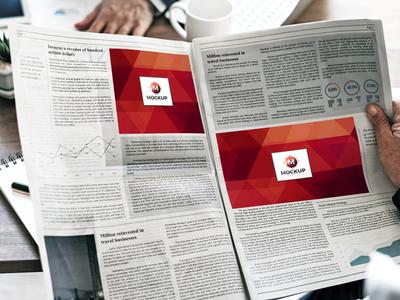 Free Man Reading Multiple Ads Newspaper Mockup
