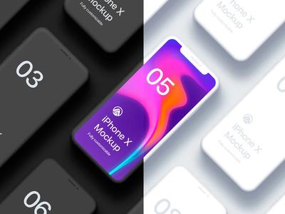Free Iphone X Clay Isometric 2 Fully Customizable Mockup Psd 201