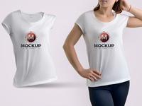 Free Girl Wearing T Shirt Mockup