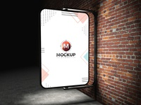Free Street Advertising Billboard On Bricks Wall Mockup Psd