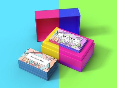 Free Colorful Business Card Mockup Psd