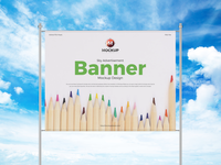Free Sky Advertisement Banner Mockup Design