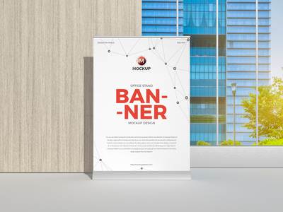 Free Office Stand Banner Mockup Design psd print template stationery mockups logo banners freebie free banners mockup banner mockup mockup psd mockup free free mockup mock-up mockup frame font download branding