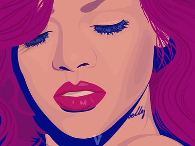 Rihanna loud rihanna portrait illustration vector art
