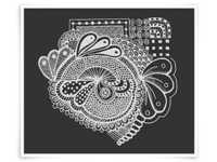White On Black Zentangle