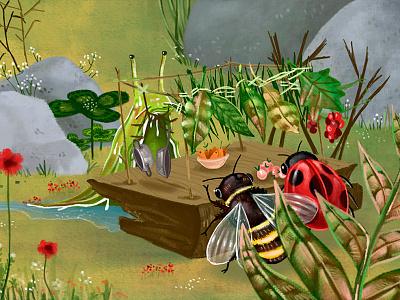 Dinner bee ladybug slug flowers summer garden party dinner digital art illustration