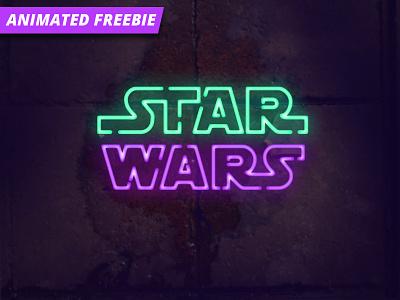 Neon Photoshop Animation wars star light freebie free mockup logo neon animated