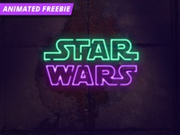 Neon Photoshop Animation wars star light freebie free mockup logo neon animated