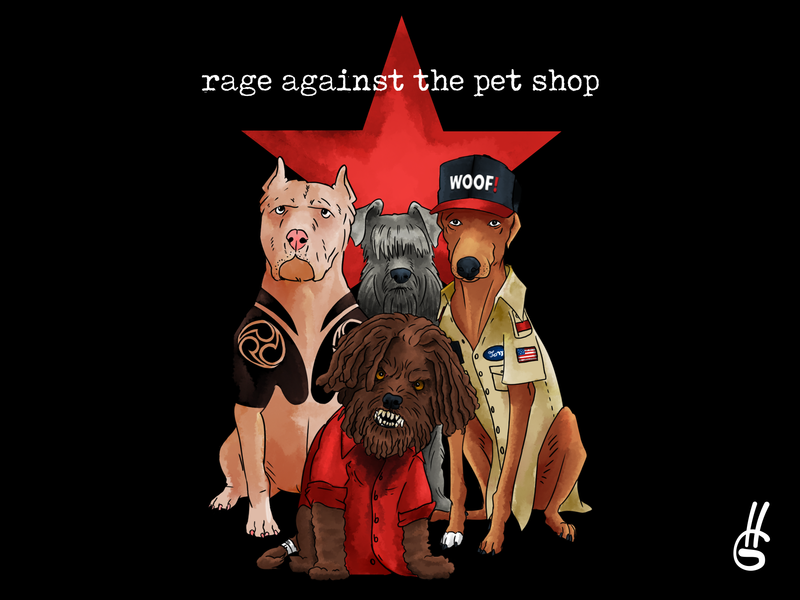 Rage Against The Pet Shop t-shirt rock and roll branding painting band art design illustration t-shirt design