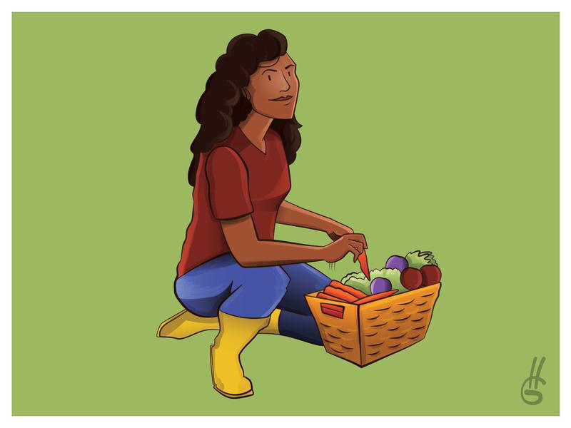 Gardener people grain farm farmer design branding illustration