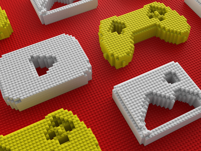 Lego Media Icons legos lego editorial illustration editorial 3d art 3d icons icon illustration digital c4d design