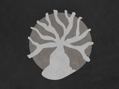 Wicked Tree circle plant vector logo organic black and white texture tree illustration