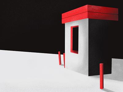 Free Parking illusion 3d perspective window building blackandwhite red design popular texture 2d illustration