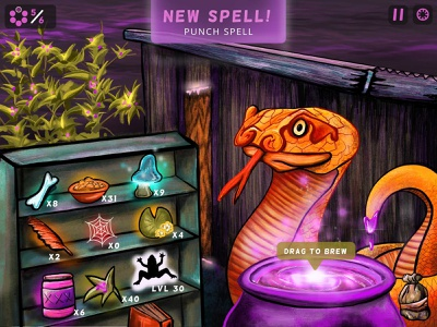 Gorgos Game Screen Grab ingredients snake spell layout interface buttons design art illustration appconcept gameconcept gamedesign ipad