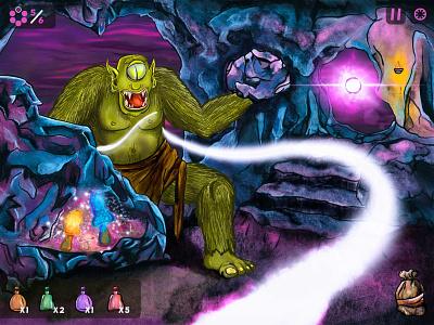 Gorgos Game Boss Battle mockup layout ux ui spells cave character game designer cartoon illustration ipad concept app game design cyclone greek mythology