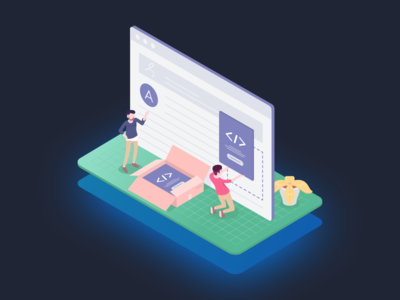 Isometric and Coding hiring poster react development coding front-end gradient flat illustrations isometric
