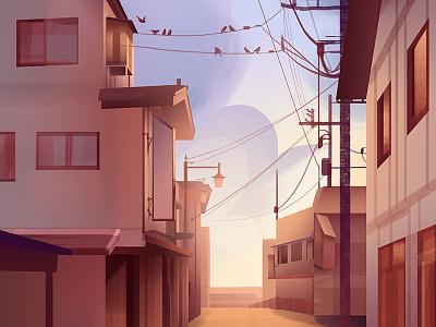 Runaway illustrator city clouds birds background illustration design painting environment photoshop light digital painting