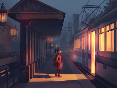 Mind The Gap background train city light night illustration design painting environment