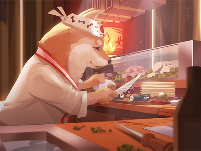 Shiba Sushi Chef dog shiba inu graphic painting concept art visual development character light illustration background environment design