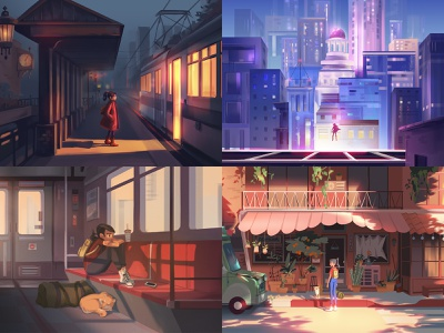 Top 4 of 2018 graphic painting character concept art visual development light background illustration environment design