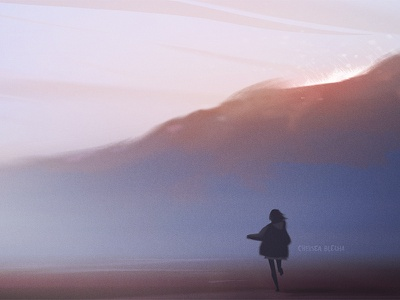 It's Time girl night mountain ocean sunset background design environment design nature graphic photoshop concept art visual development character painting light background illustration environment design