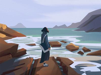 Memories girl sea ocean background design environment design nature graphic concept art visual development character painting light background illustration environment design