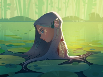 Lily girl cute sea background design environment design nature graphic photoshop concept art visual development character painting light background illustration environment design