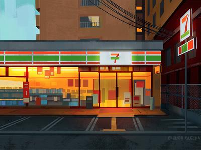 7-11 city environment design concept art visual development painting light background illustration environment design