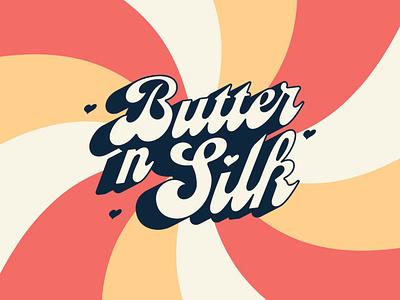 Butter n Silk Branding typography swirly swirls self love smooth hearts silky buttery groovy 70s branding logo skin care