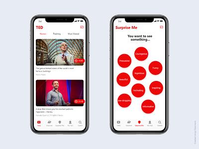 TED App - iOS tedx ux ted xd interface feed design flat iphone x ios video app ui app icon clean app