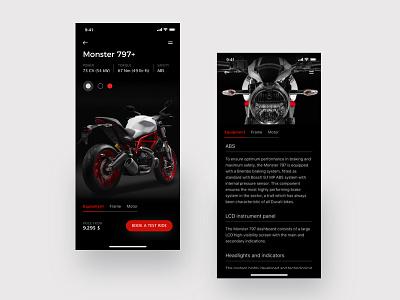 Ducati • Monster visualdesign uiux designinspiration prototype appdesign graphicdesignui ui ux graphic invisionstudio sketch design