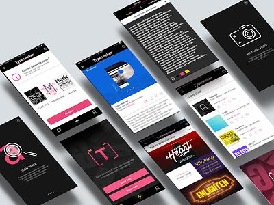 Typeseeker App photographersondribble walkthrough app diseño de la aplicación diseño designinspiration ux ilustración diseño visual uiux bosquejo ui gráfico prototipo diseño gráfico vector tipografia logo marca tipografía