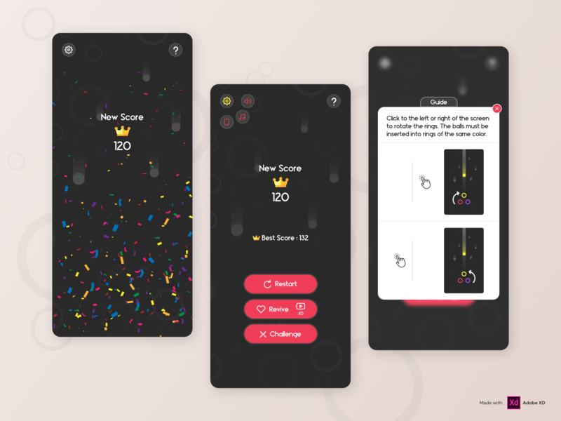 Ball to ring 2- Mobile Game minimalist logo minimal game ui ux