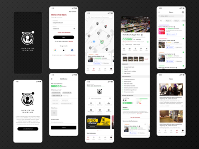 Black Owned Beauty Business Directory App black owned design flat vector visual design ui ux