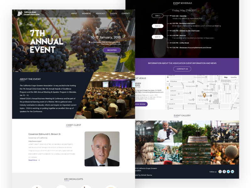 Event Page Annual Event of California Grape Growers Association typography website flat app logo web branding design ux