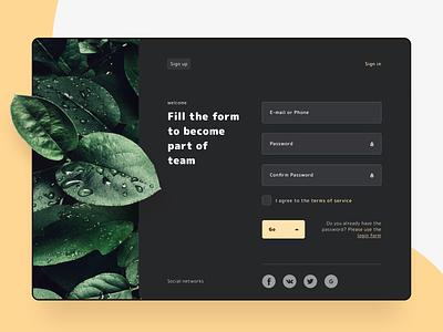 sign up (dark) website web page sketchapp sketch leaves sign in login dark unsplash product ui web layout design registration sing up 001 daily ui