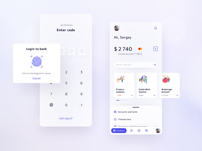 Banking — verification and dashboard code account profile blue light icons touch id login envato card blur layout ux ui dashboad banking product design app mobile