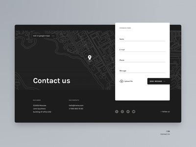 Contact Us layout dark ui feedback contact web ui 028 daily ui