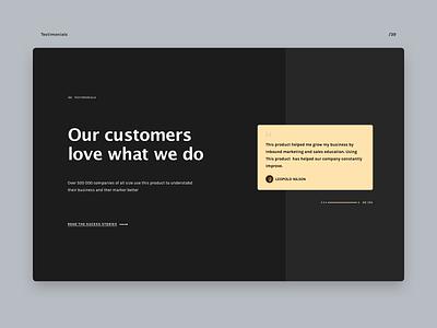 Testimonials testimonials dark ui ui design layout web 039 daily ui