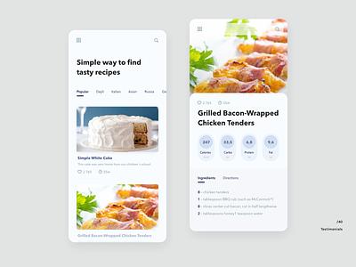Recipe dashboard layout food recipe light ui 040 mobile web daily ui