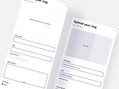 Progress bar add img form card layout design ui kit web mobile 086 daily ui