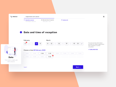 Appointment with a doctor stepper layout popup modal illustration medical doctor appointment ux ui web