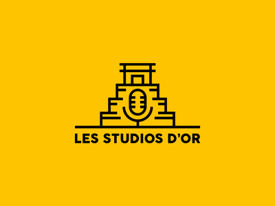 Logo for a Music Studio (1/2) micro microphone mic illustrator vector french logo outline logo outline minimal goldbomb yellow temple logotype logo maya studio music