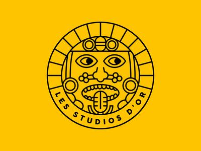 Logo for a Music Studio (2/2) face face logo logo design mic microphone music studio maya draw outline logo outline yellow maya logotype logo