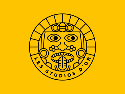 Logo for a Music Studio (2/2) face face logo logo design mic microphone music studio maya draw outline logo outline yellow maya logotype logo