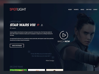 Movie Streaming Website streaming ux ui app netflix interface typo logo wars star theater movie