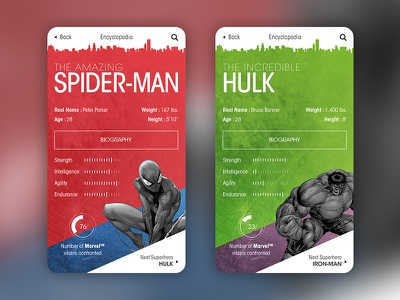 Superhero Encyclopedia iphone ios superhero hulk spiderman marvel mobile design ux ui interface app