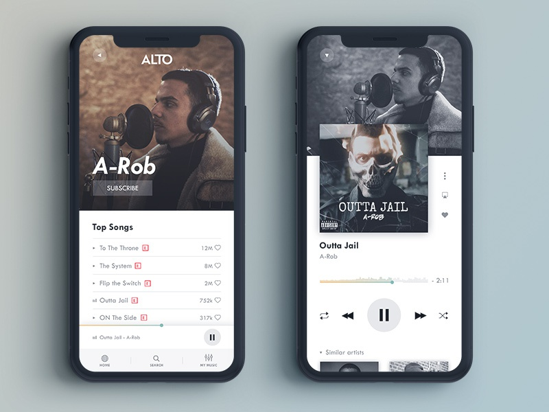 ALTO Music Player App Design (1/2) streaming app streaming music artist alto music player player music app artist mobile iphone black and white ios music gradient app design interface ux ui typo