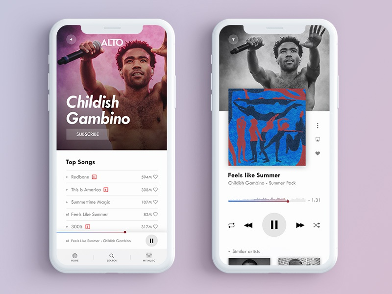 ALTO Music Player App Design (2/2) childish gambino streaming music artist alto music player player music app artist mobile iphone black and white ios music gradient app design interface ux ui typo