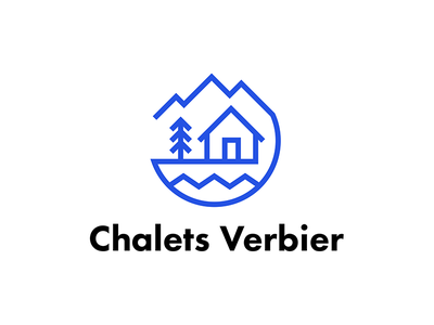 Logo Chalets Verbier pin snow lodge chalet mountains mountain modernlogo minimalist logo minimalist logotype logodesign logo illustration illustrator futura design branding brand blue black